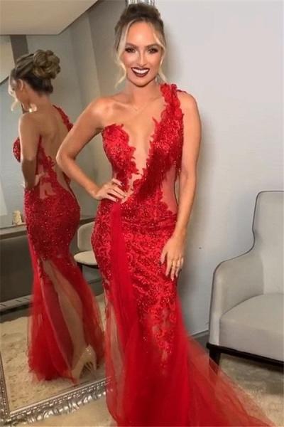 Beautiful One Shoulder Lace Mermaid Prom Dress_1