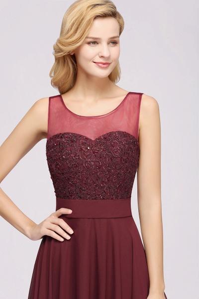 A-Line Chiffon Tulle Lace Beadings Jewel Sleeveless Floor-Length Bridesmaid Dresses with Sash_4