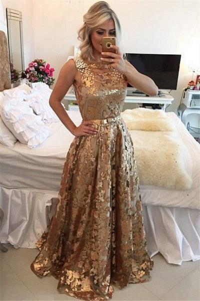 Precious Jewel Appliques A-line Prom Dress_1