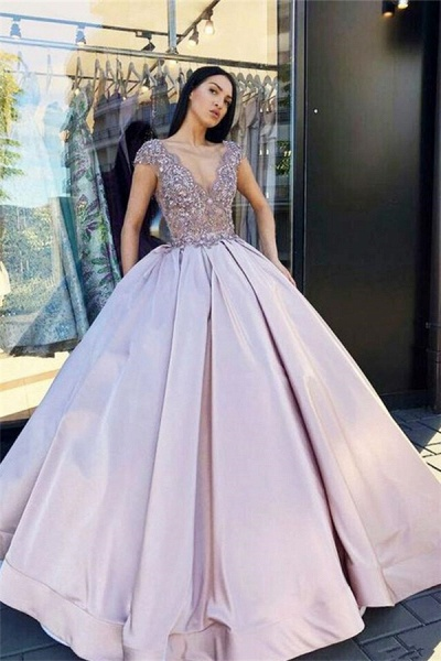 Amazing V-neck Beading Ball Gown Prom Dress_3