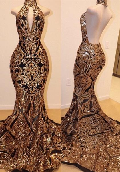 Halter Keyhole Neckline Sequins Appliqued Mermaid Prom Dresses_1