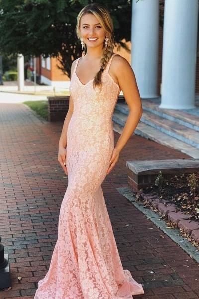 Fabulous Spaghetti Straps Lace Mermaid Prom Dress_1
