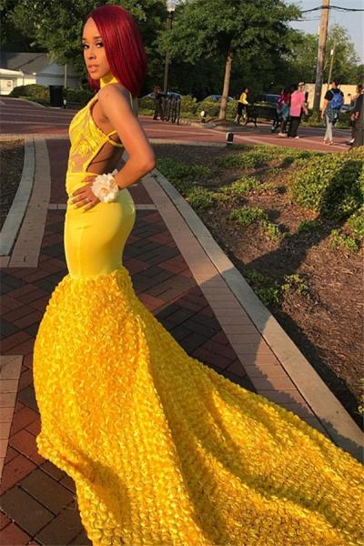 Best High Neck Appliques Mermaid Prom Dress_3