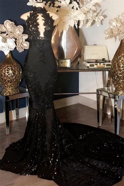 Black Appliques High-Neck Sleeveless Long Mermaid Prom Dress_1