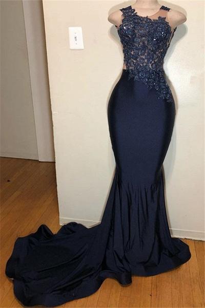 Glorious Straps Appliques Mermaid Prom Dress_1