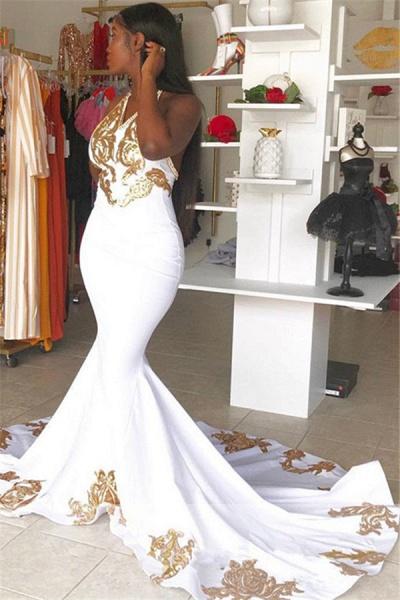 Attractive Halter Appliques Mermaid Prom Dress_2