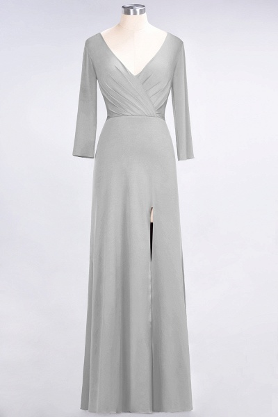 A-Line Spandex V-Neck Long-Sleeves Side-Slit Floor-Length Bridesmaid Dress with Ruffles_26