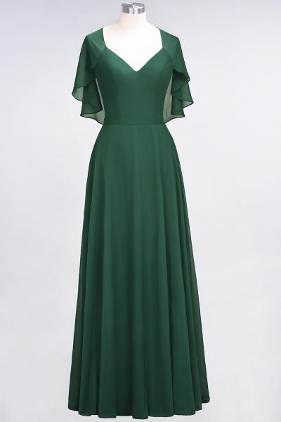 A-Line Chiffon Satin V-Neck short-sleeves Floor-Length Bridesmaid Dress_30
