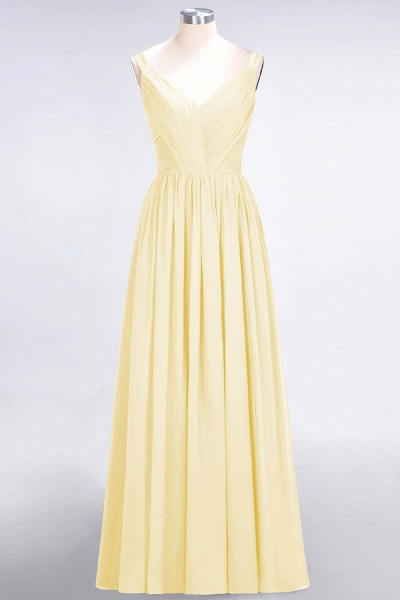 A-Line Chiffon Straps V-Neck Sleeveless Backless Floor-Length Bridesmaid Dress with Ruffles_17