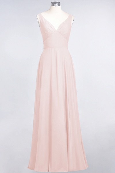 A-Line Chiffon V-Neck Straps Sleeveless Ruffles Floor-Length Bridesmaid Dress with Open Back_5