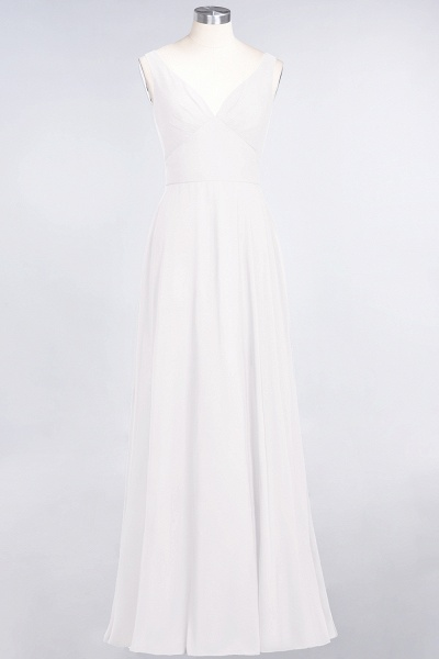 A-Line Chiffon V-Neck Straps Sleeveless Ruffles Floor-Length Bridesmaid Dress with Open Back_1