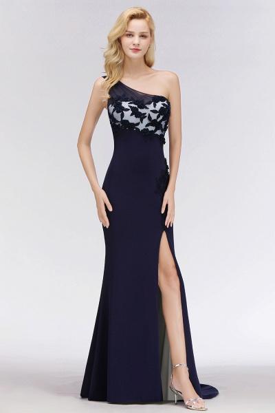 BM0085 Simple Side Split One-Shoulder Sleeveless Mermaid Bridesmaid Dress_5