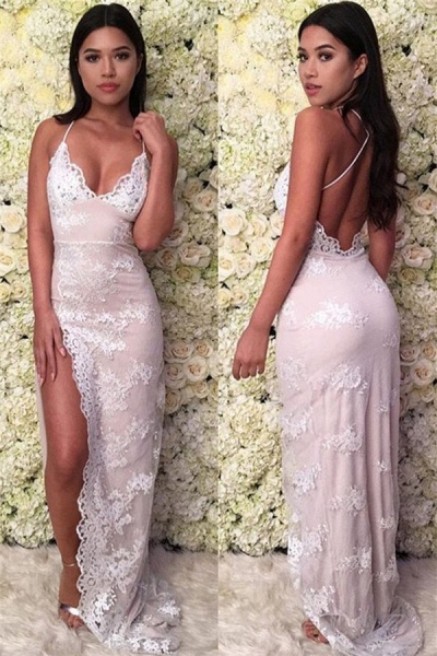Elegant Spaghetti Straps Appliques Mermaid Prom Dress_1