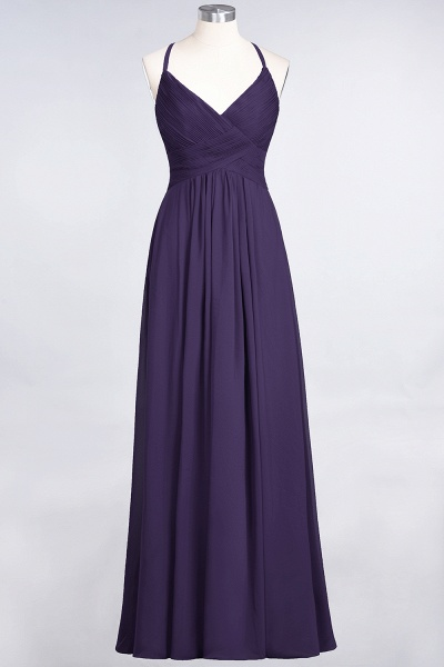A-Line Chiffon Spaghetti-Straps V-Neck Sleeveless Floor-Length Bridesmaid Dress with Ruffles_18