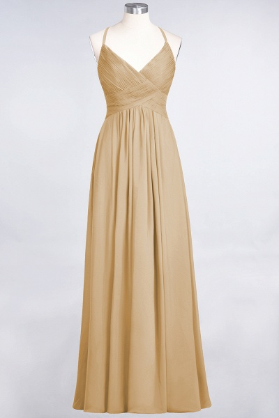 A-Line Chiffon Spaghetti-Straps V-Neck Sleeveless Floor-Length Bridesmaid Dress with Ruffles_13