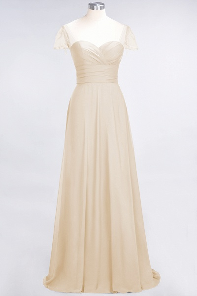 A-Line Chiffon Sweetheart Cap-Sleeves Ruffle Floor-Length Bridesmaid Dress with Beadings_14