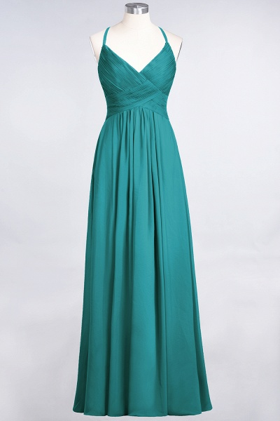 A-Line Chiffon Spaghetti-Straps V-Neck Sleeveless Floor-Length Bridesmaid Dress with Ruffles_31