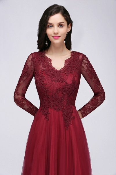 BMbridal Long Sleeves V-Neck Lace Burgundy Bridesmaid Dresses with Appliques_5