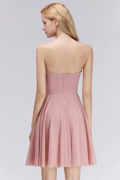 BM0060 Simple Pink Sweetheart Short Bridesmaid Dress_2