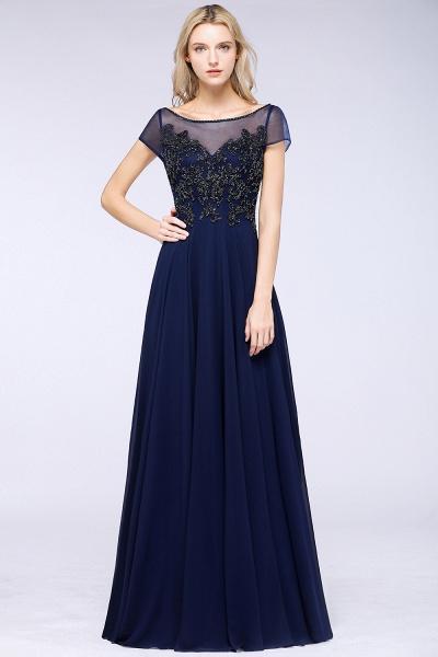 BM0763 Elegant A-Line Short Sleeves Appliques Beads Bridesmaid Dress_3
