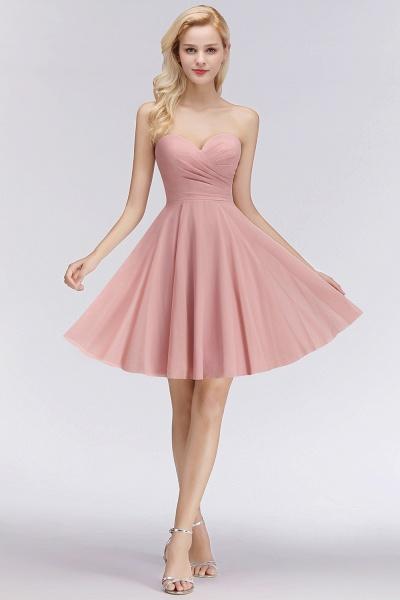 BM0060 Simple Pink Sweetheart Short Bridesmaid Dress_3