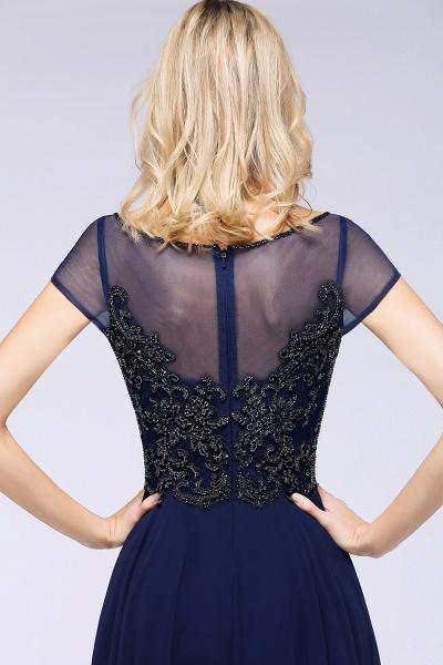 BM0763 Elegant A-Line Short Sleeves Appliques Beads Bridesmaid Dress_6