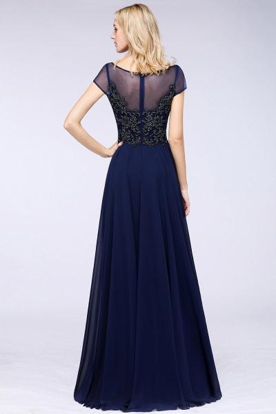 BM0763 Elegant A-Line Short Sleeves Appliques Beads Bridesmaid Dress_2