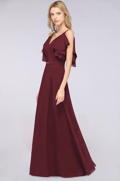 A-Line Chiffon V-Neck Straps Sleeveless Ruffles Floor-Length Bridesmaid Dress with Pearls_3