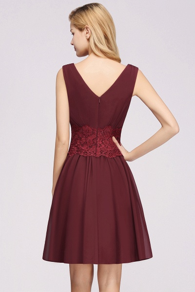 A-line Chiffon Lace V-Neck Sleeveless Mini Bridesmaid Dresses_36