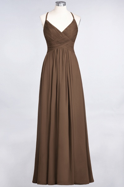 A-Line Chiffon Spaghetti-Straps V-Neck Sleeveless Floor-Length Bridesmaid Dress with Ruffles_12