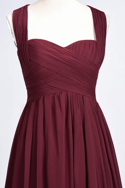 BM0420 Burgundy Simple Cap Sleeves Sweetheart Bridesmaid Dress_10