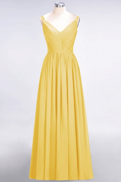 A-Line Chiffon Straps V-Neck Sleeveless Backless Floor-Length Bridesmaid Dress with Ruffles_16