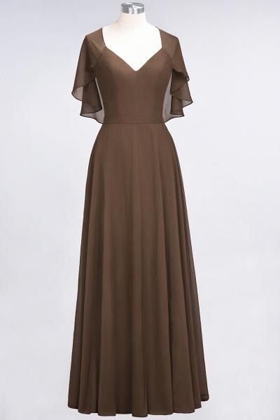 A-Line Chiffon Satin V-Neck short-sleeves Floor-Length Bridesmaid Dress_12