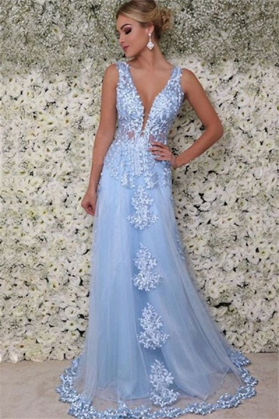 Wonderful Straps Appliques A-line Prom Dress_1