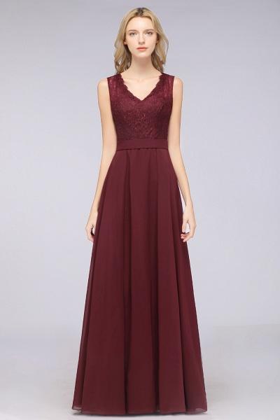 A-Line Chiffon Lace V-Neck Sleeveless Floor-Length Bridesmaid Dress_37