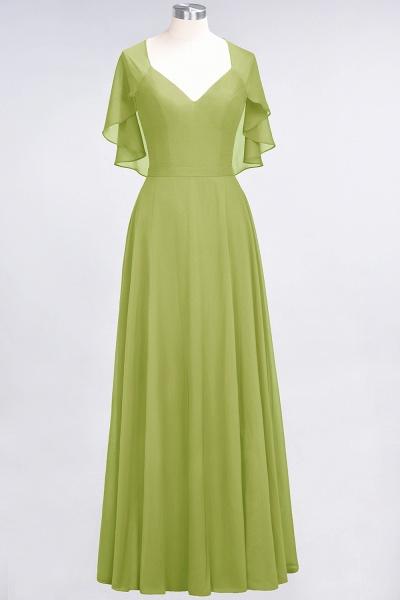 A-Line Chiffon Satin V-Neck short-sleeves Floor-Length Bridesmaid Dress_32