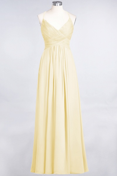 A-Line Chiffon Spaghetti-Straps V-Neck Sleeveless Floor-Length Bridesmaid Dress with Ruffles_17