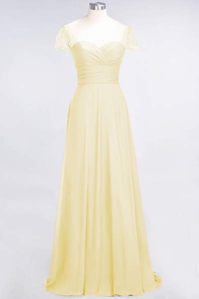 A-Line Chiffon Sweetheart Cap-Sleeves Ruffle Floor-Length Bridesmaid Dress with Beadings_17