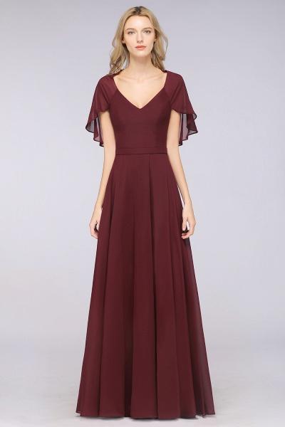 A-Line Chiffon Satin V-Neck short-sleeves Floor-Length Bridesmaid Dress_35