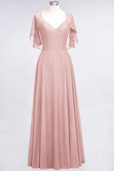 A-Line Chiffon Satin V-Neck short-sleeves Floor-Length Bridesmaid Dress_6