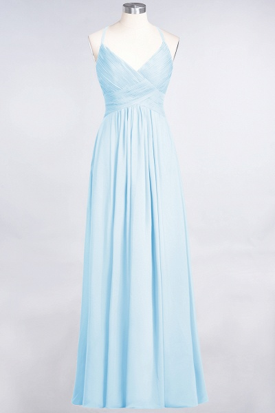 A-Line Chiffon Spaghetti-Straps V-Neck Sleeveless Floor-Length Bridesmaid Dress with Ruffles_22