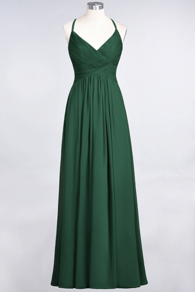 A-Line Chiffon Spaghetti-Straps V-Neck Sleeveless Floor-Length Bridesmaid Dress with Ruffles_30