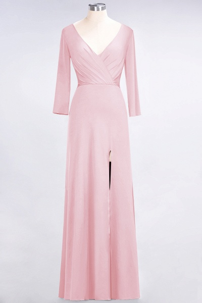 A-Line Spandex V-Neck Long-Sleeves Side-Slit Floor-Length Bridesmaid Dress with Ruffles_4