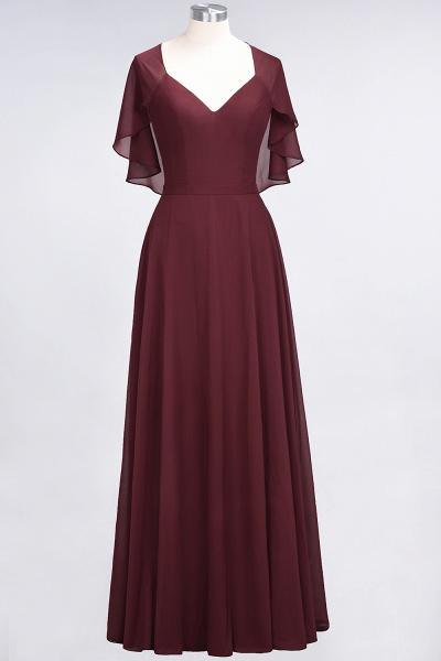 A-Line Chiffon Satin V-Neck short-sleeves Floor-Length Bridesmaid Dress_10