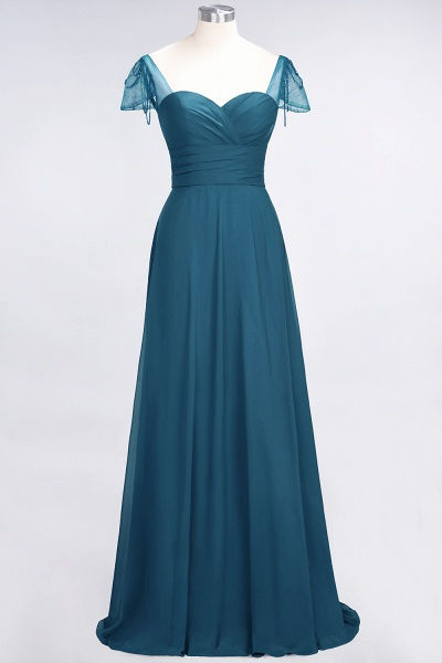 A-Line Chiffon Sweetheart Cap-Sleeves Ruffle Floor-Length Bridesmaid Dress with Beadings_26