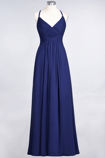 A-Line Chiffon Spaghetti-Straps V-Neck Sleeveless Floor-Length Bridesmaid Dress with Ruffles_25