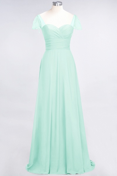 A-Line Chiffon Sweetheart Cap-Sleeves Ruffle Floor-Length Bridesmaid Dress with Beadings_34