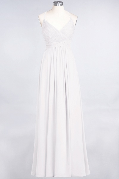 A-Line Chiffon Spaghetti-Straps V-Neck Sleeveless Floor-Length Bridesmaid Dress with Ruffles_1