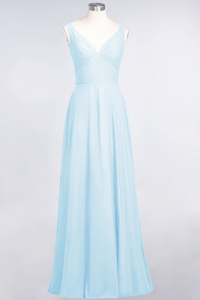 A-Line Chiffon V-Neck Straps Sleeveless Ruffles Floor-Length Bridesmaid Dress with Open Back_22