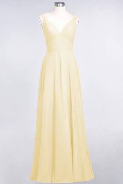 A-Line Chiffon V-Neck Straps Sleeveless Ruffles Floor-Length Bridesmaid Dress with Open Back_17